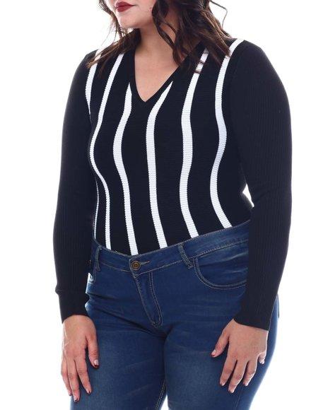 Fashion Lab - Plus Long Sleeve Stripe Front Sweater