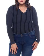 Plus Size - Plus Long Sleeve Stripe Front Sweater-2565076