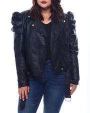 Outerwear - Plus Faux Leather Ruff Sleeve Biker Jacket-2565080