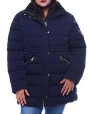 Plus Size - Plus quilted Bubble Jacket With Faux Fur Hoodie-2565828