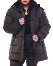 Plus Size - Plus Quilted Bubble Jacket Faux Fur Hoodie-2565834