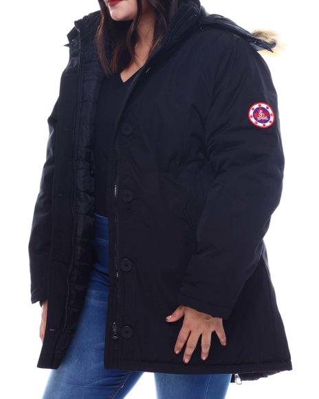 Fashion Lab - Plus Anorak Safari Jacket W/Faux Fur Hoodie