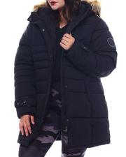 Plus Size - Plus Quilted Bubble Jacket with Faux fur hoodie-2565819