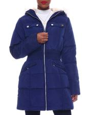 Women - Hooded Padded Coat W/Smocking Waist Band Detail & Welt Pockets Faux Fur Trim Hoody-2564842