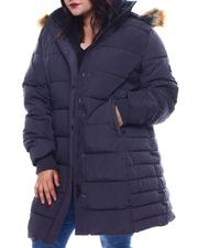 Plus Size - Plus Quilted Maxi Bubble Jacket Faux fur Hoodie-2565840