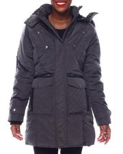 Fashion Lab - Heavy Weight Coat W/Pu Trims Multi Pkts Fur Hood Sherpa Lining Sweater Rib Thumb Hole-2564903