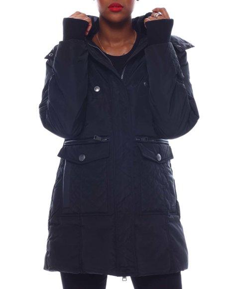 Fashion Lab - Heavy Weight Coat W/Pu Trims Multi Pkts Fur Hood Sherpa Lining Sweater Rib Thumb Hole