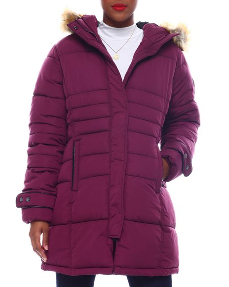 Fashion Lab - Quilted Bubble Jacket Faux Far Hoodie