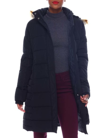 Fashion Lab - Quilted Maxi Bubble Jacket Faux Fur Hoodie