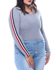 Plus Size - Plus V-Neck Sweater  W/ Contrast Contrast Color Stripe Sleeve-2565044