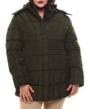 Plus Size - Plus Quilted Bubble Jacket Faux fur Hoodie-2565825