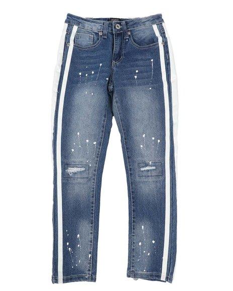 Arcade Styles - Rip & Repair Stretch Jeans W/ Paint Splatter & Side Stripes (8-18)
