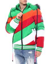 Men - Asymmetrical Colorblock Puffer Coat w Hood-2565120