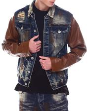 Fall-Winter - RIP & REPAIR/ FAUX LEATher Denim Jacket-2567741