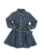 Sizes 2T-4T - Toddler - Long Sleeve Denim Shirt Dress W/ Self Belt (2-4T)-2565899