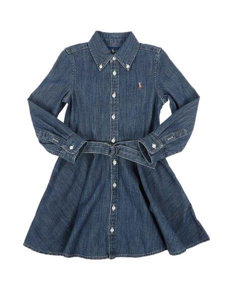 Polo Ralph Lauren - Long Sleeve Denim Shirt Dress W/ Self Belt (4-6X)