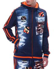Buyers Picks - Distressed Denim Look Camo Patch Hoodie-2568880