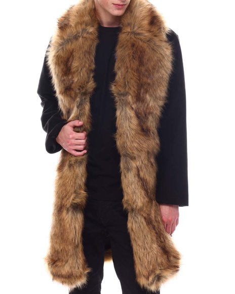 SWITCH - Overcoat w Faux Fur Placket Trim