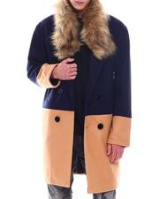 SWITCH - Colorblock Overcoat w Faux Fur Trim-2568069