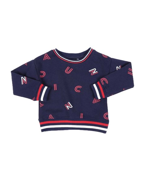 Nautica - All Over Print Fleece Crew Neck Pullover (2T-4T)