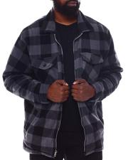 Light Jackets - Buffalo Plaid Printed Fleece Jacket (B&T)-2570519