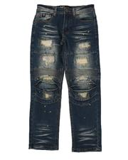 Bottoms - Rip & Repair Moto Jeans W/ Embroidery & Paint Splatter (8-18)-2568924