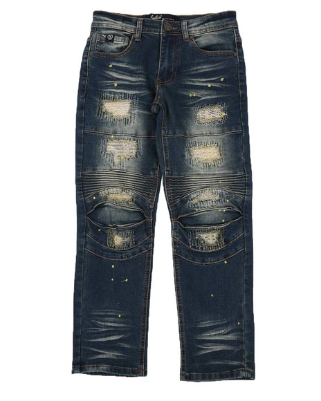 SWITCH - Rip & Repair Moto Jeans W/ Embroidery & Paint Splatter (8-18)