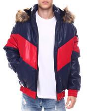 Outerwear - Chevron Bomber Jacket w Faux Fur Hood-2568658