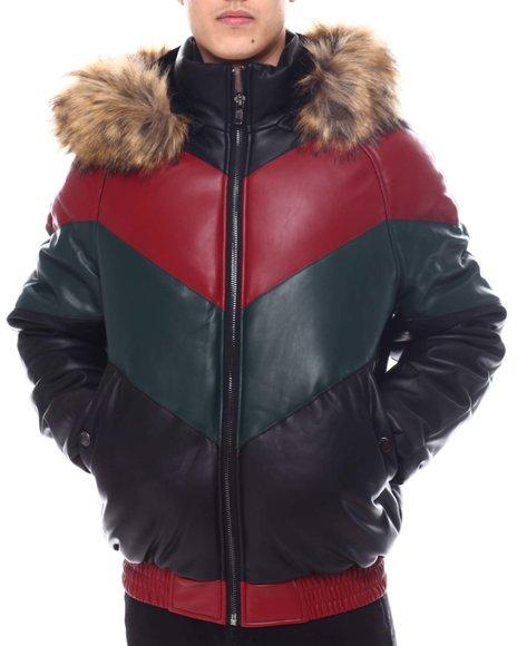 Buyers Picks - Chevron Bomber Jacket w Faux Fur Hood