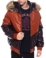 Outerwear - Chevron Bomber Jacket w Faux Fur Hood-2568648