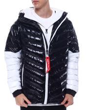 Light Jackets - Colorblock DBL Hood and Zipper Chevron Puffer Jacket-2571664