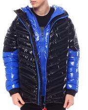 Light Jackets - Colorblock DBL Hood and Zipper Chevron Puffer Jacket-2571676