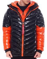 Light Jackets - Colorblock DBL Hood and Zipper Chevron Puffer Jacket-2571683