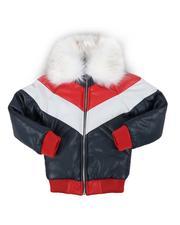 Arcade Styles - Color Block Faux Fur Collar Jacket (4-14)-2563981