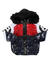 Arcade Styles - 8 Ball Color Block Puffer Jacket W/ Faux Fur Trim Hood (8-20)-2568870