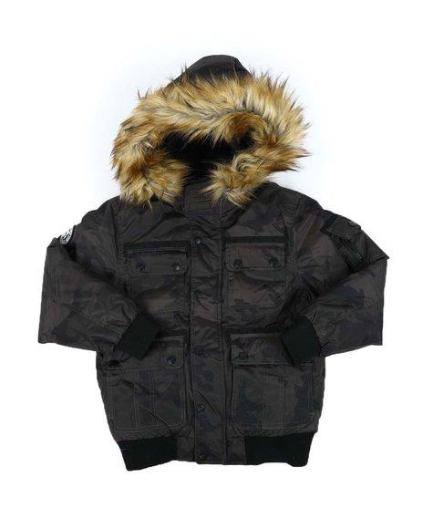 DKNY Jeans - Bomber Jacket W/ Faux Fur Hood Trim (8-20)