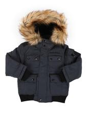 DIESEL KIDS - Hooded Bomber Jacket W/ Faux Fur Trim (4-7)-2564056