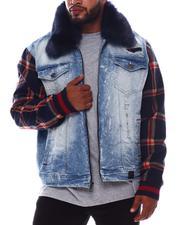Denim Jackets - Malachy Plaid Sleeve Denim Jacket (B&T)-2570424