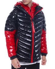Light Jackets - Colorblock DBL Hood and Zipper Chevron Puffer Jacket-2571656