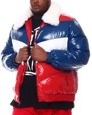 Big & Tall - Colorblock Bomber with Faux Fur Collar (B&T)-2573098