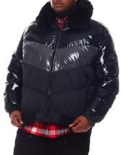 Big & Tall - Colorblock Bomber with Faux Fur Collar (B&T)-2573166