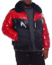 Big & Tall - Colorblock Bomber with Faux Fur Collar (B&T)-2573179