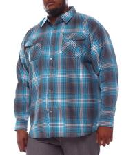 Big & Tall - Plaid Woven Long Sleeve Shirt (B&T)-2572095