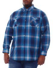 Big & Tall - Plaid Woven Long Sleeve Shirt (B&T)-2572073