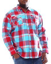 Big & Tall - Plaid Woven Long Sleeve Shirt (B&T)-2572111