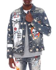 Denim Jackets - DENIM JACKET W/ GRAFFITI + PACHED PRINT-2571421