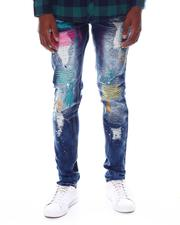 SWITCH - DAMAGED DENIM PANTS W/COLOR EMBROIDERY-2574141
