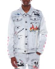 Denim Jackets - DENIM JACKET W/ GRAFFITI and SIDE PAINTS-2571433