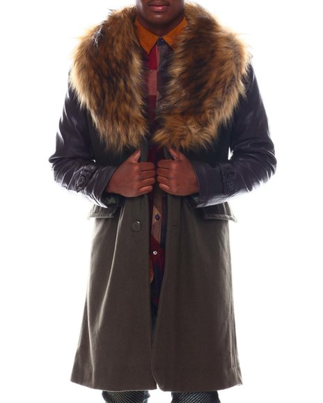 SMOKE RISE - Long Overcoat w Faux Fur Collar