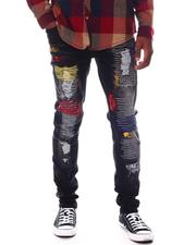 SWITCH - DAMAGED DENIM PANTS W/COLOR EMBROIDERY-2574172
